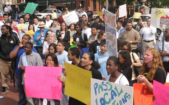 Scores of Boston Public Schools students rallied at the State House in Boston last Wednesday, calling for state...