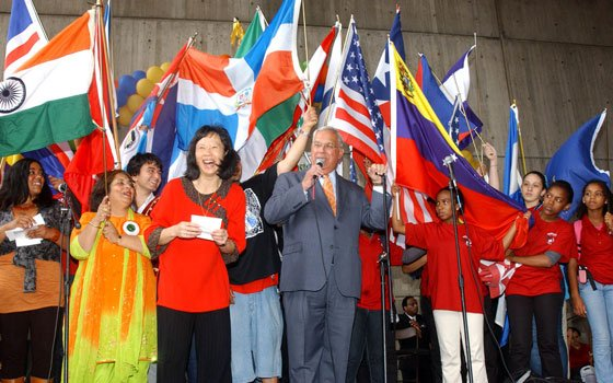 Mayor Thomas M. Menino addresses the crowd at the New Bostonian Community Day, held at City Hall on...