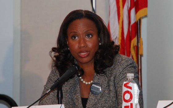 Ayanna Pressley responds to a question during recent Boston City Council forum at UMass Boston. Sponsored by MassVote,...