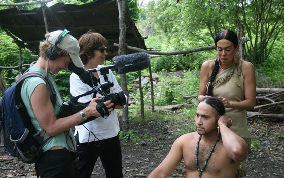 Allie Humenuk (l) and Anne Makepeace film a scene with Wampanoags at Plimoth Plantation's Strawberry Thanksgiving. (Jonathan Reed photo)...