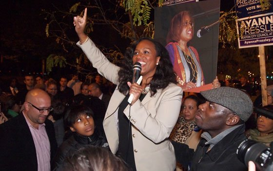 At-Large City Councilor Ayanna Pressley greets supporters gathered on Dorchester Avenue. Pressley topped the ticket in Tuesday's balloting with...