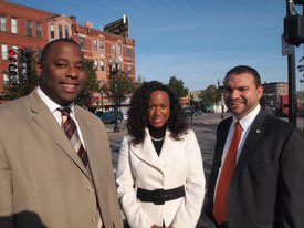 District 7 City Councilor Tito Jackson and At-Large Councilors  Ayanna Pressley and Felix Arroyo campaigning in Grove Hall before the  Nov. 8 election.