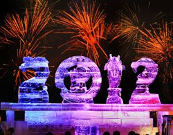 This photo montage of an ice sculpture and fireworks celebrates...