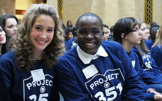 Kevin Irungu, an eighth grader from Salemwood Middle School in Malden, poses with his friend Shannon Sullivan. The pair...