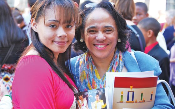 Boston Public Schools Superintendent Dr. Carol R. Johnson and her pen pal, Nelise Mendes, a student...