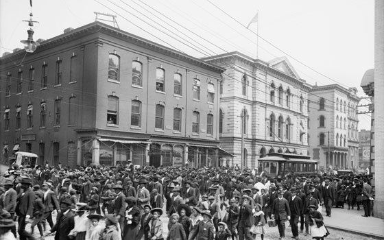 This photograph, taken in 1905, shows an Emancipation Day celebration in Richmond, Va., and is one...