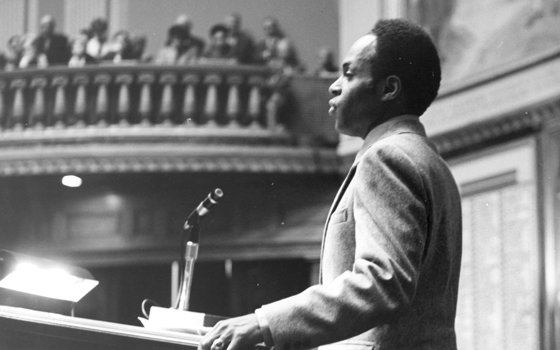 David Nelson delivers a speech before a packed audience of friends during his swearing-in as a federal district judge in this 1979 Banner file photo. Judge Nelson's successor, U.S. District Judge Reginald Lindsay died on March 12, 2009, at the age of 63. As Charles J. Ogletree Jr. writes, the two jurists shared well-earned reputations for excellence and fairness.