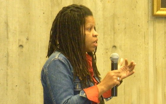 A concerned parent discusses issues in the Boston Public Schools system during a meeting of Black People for...