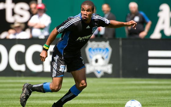 Ryan Johnson, a forward for the San Jose Earthquakes of Major League Soccer, heads toward the goal. The...