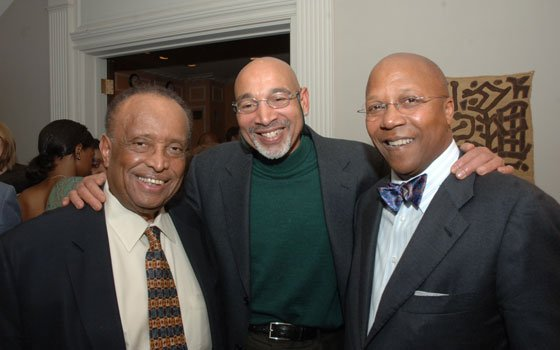 Ambassador Walter Carrington, Derrick Jackson (Boston Globe), and Ambassador Charles Stith chat at a wine tasting hosted last...