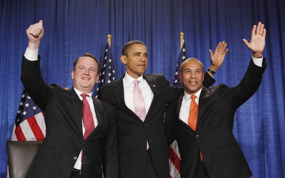In this Oct. 23, 2009 photo, President Barack Obama, flanked by Massachusetts Lt. Gov. Tim Murray, left, and Gov....