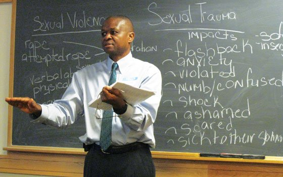 Jean Yamutumba of the Boston Area Rape Crisis Center explains the impact of sexual violence in a workshop at...