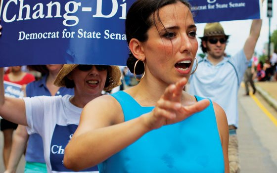 Incumbent state Sen. Sonia Chang-Diaz, shown here during the recent Puerto Rican Day Festival, is up against Hassan...