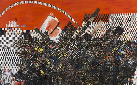 """L.A.-based artist Mark Bradford now has slowed down to chronicle his provocative workMark Bradford, """"Scorched Earth"""" (2006)...."""