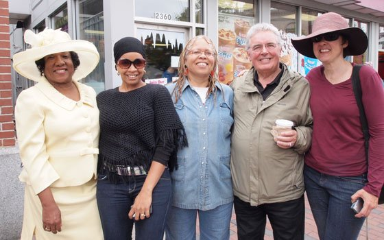 Attending the Come Back to Dudley press conference Saturday were Dudley Square Main Streets board members Jumada Abdal Khallaq,...