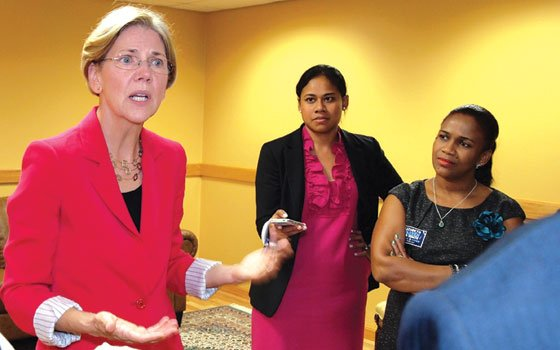 Elizabeth Warren meets with reporters after last Wednesday's forum at RCC, which Sen. Scott Brown declined...