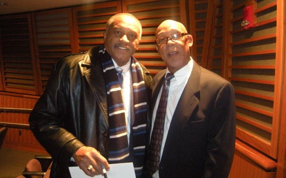 Tommie Smith (left) and John Carlos (right) pose for pictures at the 14th annual True Heroes of Sport...