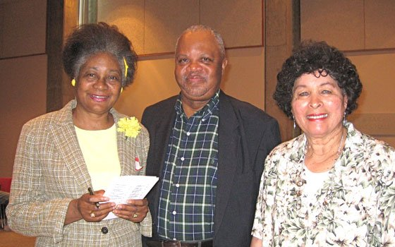 Poetry workshop leader Ted Thomas (center) joins Callie F. Cox (left) and Carrie Jefferson, who participated in the...
