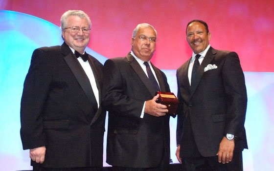 Boston Mayor Thomas Menino (c) receives the President's Award at the 2011 National Urban League Conference held in...