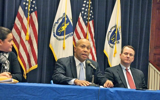 Gov. Deval Patrick speaks to reporters from ethnic news outlets in Massachusetts about his administration's efforts to boost international...