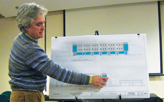Architect Lucio Trabucco of Nunes Trabucco Architects describes the features of the office and retail building proposed for Taber Street in Dudley Square.