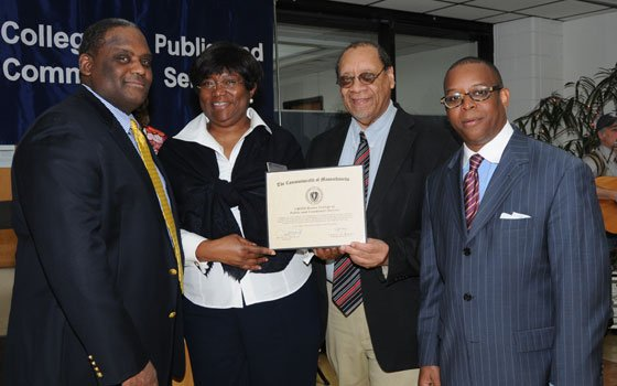The College of Public and Community Service (CPCS) at UMass Boston recently celebrated its 40th anniversary. (L-R) Assistant Secretary for Access and Opportunity Ronald Marlow, Dean Anna Madison, Dr. Carroy Ferguson and New Democracy Coalition Director Kevin C. Peterson.