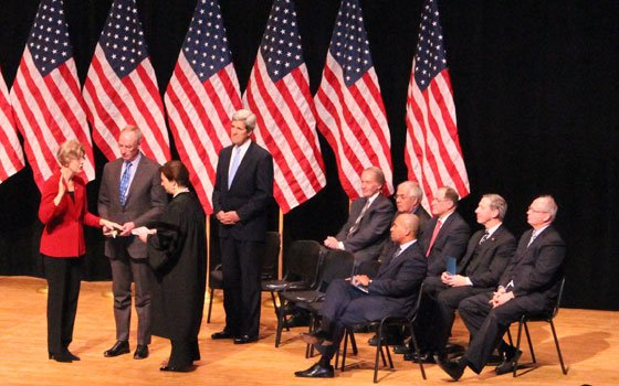 The re-created swearing-in ceremony of U.S. Senator Elizabeth Warren at Roxbury Community College on Saturday...