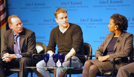(From left): Paul Farmer of the nonprofit organization Partners in Health, actor Matt Damon and state Rep. Linda...
