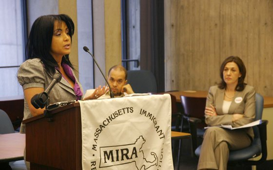 Chelsea Collaborative Executive Director Gladys Vega speaks during a press conference at Boston City Hall on Monday, June 1,...