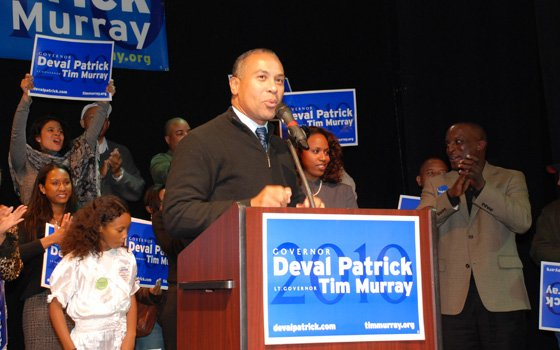"Gov. Deval Patrick addresses a full house of enthusiastic supporters Sunday at Hibernian Hall for the ""Call to..."