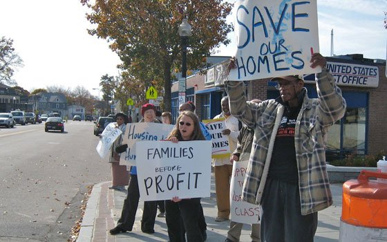 Members of the Massachusetts Alliance of HUD Tenants gathered for a rally in Hyde Park's Cleary Square on Oct....