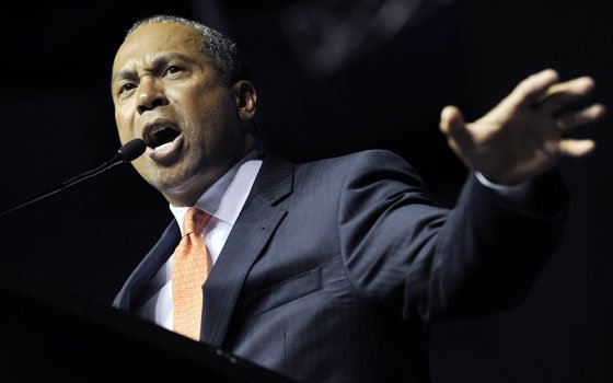 Gov. Deval Patrick addresses members of the state Democratic Convention, Saturday, June 4, 2011, at the Tsongas Arena in...