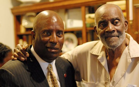 Darnell Williams (l), president/CEO of the Urban League of Eastern Massachusetts, and Mel King attended the annual party of...
