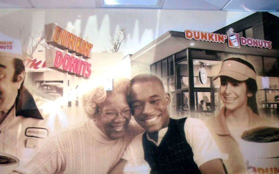 Dorothy Reed-Jackman, 78, works as a print and commercial model and actress, and is seen here on a Dunkin' Donuts poster that can be found throughout Massachusetts.