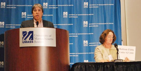 Chuck Collins (left), director of the Institute for Policy Studies' Program on Inequality and the Common Good, speaks...