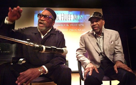 Kenny Gamble (I) makes a point, as Leon Huff listens, during a special session with press and students...