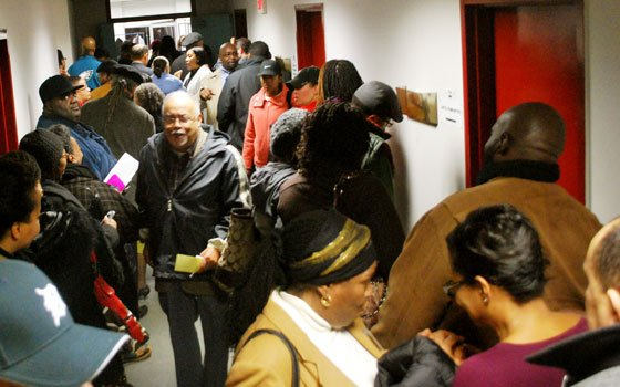 Hundreds of NAACP members lined up at the Roxbury Community College media center to vote Monday for a new...