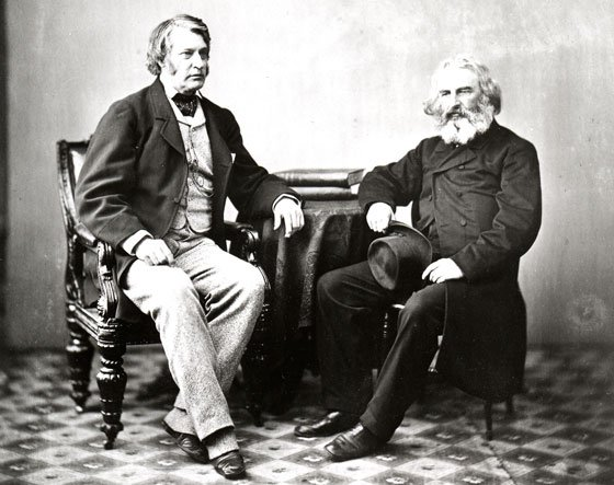 Charles Sumner is pictured here with Henry Wadsworth  Longfellow, a famous poet, Harvard professor and Sumner's best friend.