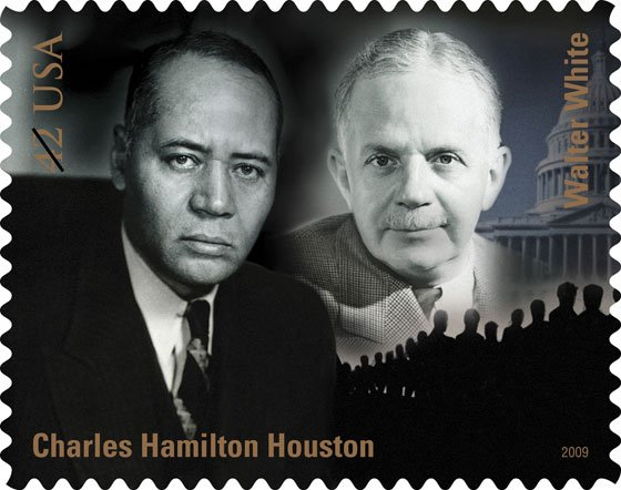 This undated handout image provided by the U.S. Postal Service show 2009 postage stamps honoring Charles Hamilton Houston...