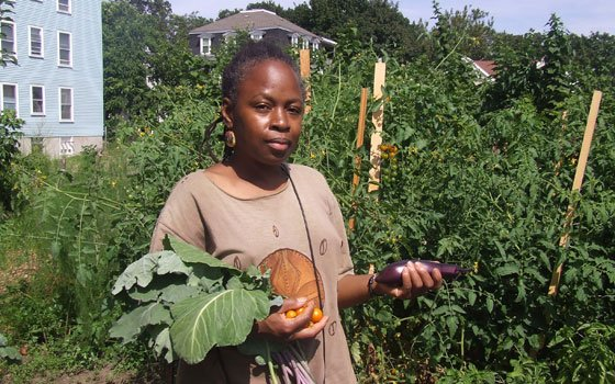 In Dorchester, residents of color take urban farming to new heights Dorchester resident Vernell Jordan shows off...