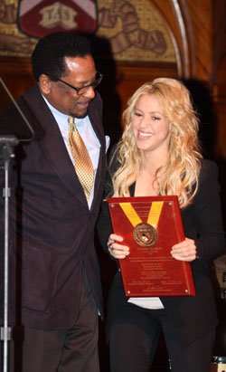 Shakira, the Harvard Foundation's Artist of the Year, receives her...