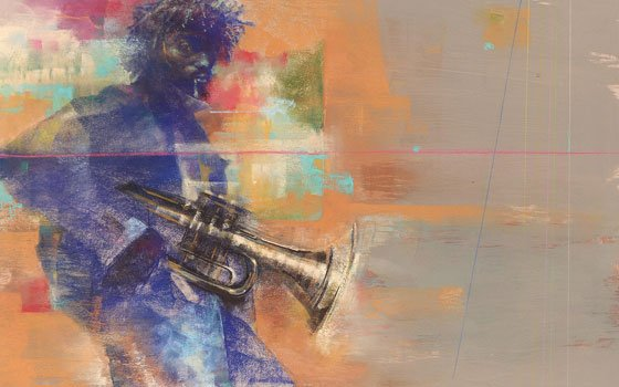 """Trumpet to the 2nd Power,"" a 23-inch-by-27-inch pastel on paper work, is one of the many pieces by..."