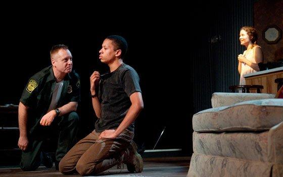 "Jesse Tolbert (Buddy), Steve Barkhimer (Vet) and Frances Idlebrook (Grace) star in Company One's production of ""Book of Grace,""..."