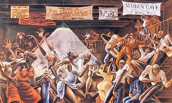 """Sugar Shack,"" one of Ernie Barnes' most famous paintings, appeared on the cover of Marvin Gaye's ""I Want..."