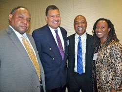 University of Massachusetts Dartmouth Southern New England School of Law School Dean Robert V. Ward, Boston College Law School Dean Vincent Rougeau, Harvard Law School Professor Charles J. Ogletree and Suffolk Law School Dean Camille A. Nelson attended the Massachusetts Black Lawyers Association reception last week.