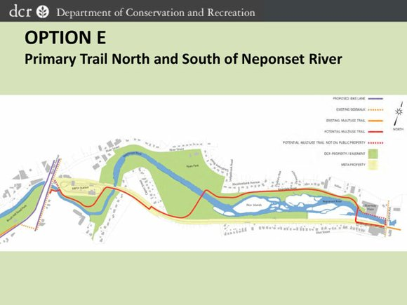 A compromise route for extending the Neponset River trail splits its one-mile length between...