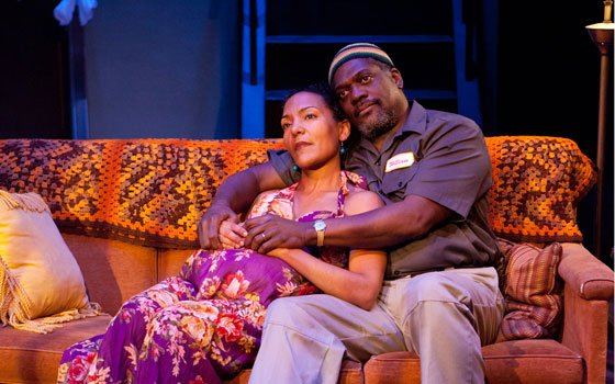 "Patrice Jean-Baptiste (l) and Johnny Lee Davenport in ""Broke-ology."""