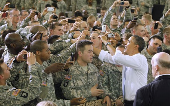 President Barack Obama greets military personnel who have recently returned from Afghanistan, Friday, May 6, 2011, at Fort Campbell,...