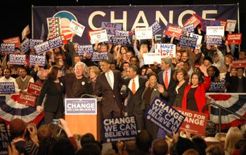 A slew of Massachusetts notables join Barack Obama (center) on stage at...