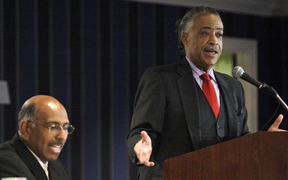 The Rev. Al Sharpton, right, introduces Michael Steele, Chairman of the Republican National Committee, at the National Action Network...